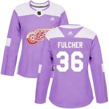 Detroit Red Wings Women's Kaden Fulcher Adidas Authentic Purple Hockey Fights Cancer Practice Jersey