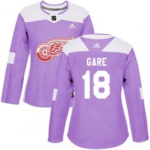 Detroit Red Wings Women's Danny Gare Adidas Authentic Purple Hockey Fights Cancer Practice Jersey
