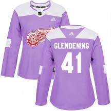 Detroit Red Wings Women's Luke Glendening Adidas Authentic Purple Hockey Fights Cancer Practice Jersey