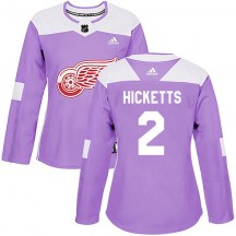 Detroit Red Wings Women's Joe Hicketts Adidas Authentic Purple Hockey Fights Cancer Practice Jersey