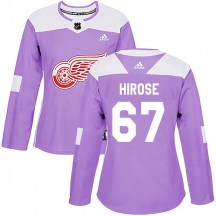 Detroit Red Wings Women's Taro Hirose Adidas Authentic Purple Hockey Fights Cancer Practice Jersey