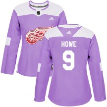 Detroit Red Wings Women's Gordie Howe Adidas Authentic Purple Hockey Fights Cancer Practice Jersey