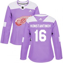 Detroit Red Wings Women's Vladimir Konstantinov Adidas Authentic Purple Hockey Fights Cancer Practice Jersey