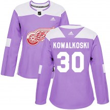 Detroit Red Wings Women's Justin Kowalkoski Adidas Authentic Purple Hockey Fights Cancer Practice Jersey