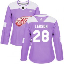 Detroit Red Wings Women's Reed Larson Adidas Authentic Purple Hockey Fights Cancer Practice Jersey