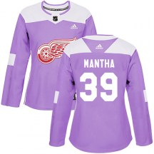 Detroit Red Wings Women's Anthony Mantha Adidas Authentic Purple Hockey Fights Cancer Practice Jersey