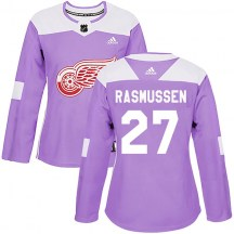 Detroit Red Wings Women's Michael Rasmussen Adidas Authentic Purple Hockey Fights Cancer Practice Jersey
