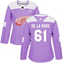 Detroit Red Wings Women's Jacob De La Rose Adidas Authentic Purple Hockey Fights Cancer Practice Jersey