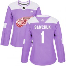 Detroit Red Wings Women's Terry Sawchuk Adidas Authentic Purple Hockey Fights Cancer Practice Jersey