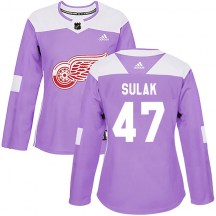 Detroit Red Wings Women's Libor Sulak Adidas Authentic Purple Hockey Fights Cancer Practice Jersey