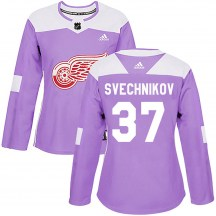 Detroit Red Wings Women's Evgeny Svechnikov Adidas Authentic Purple Hockey Fights Cancer Practice Jersey