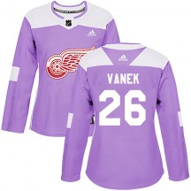 Detroit Red Wings Women's Thomas Vanek Adidas Authentic Purple Hockey Fights Cancer Practice Jersey