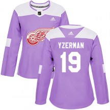 Detroit Red Wings Women's Steve Yzerman Adidas Authentic Purple Hockey Fights Cancer Practice Jersey