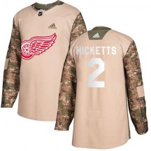 Detroit Red Wings Youth Joe Hicketts Adidas Authentic Camo Veterans Day Practice Jersey