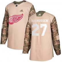 Detroit Red Wings Youth Michael Rasmussen Adidas Authentic Camo Veterans Day Practice Jersey