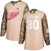Detroit Red Wings Youth Greg Stefan Adidas Authentic Camo Veterans Day Practice Jersey