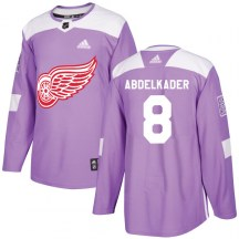 Detroit Red Wings Youth Justin Abdelkader Adidas Authentic Purple Hockey Fights Cancer Practice Jersey