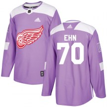 Detroit Red Wings Youth Christoffer Ehn Adidas Authentic Purple Hockey Fights Cancer Practice Jersey