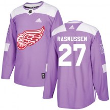 Detroit Red Wings Youth Michael Rasmussen Adidas Authentic Purple Hockey Fights Cancer Practice Jersey