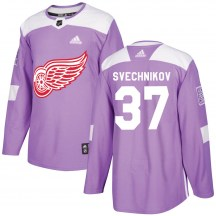 Detroit Red Wings Youth Evgeny Svechnikov Adidas Authentic Purple Hockey Fights Cancer Practice Jersey