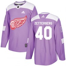 Detroit Red Wings Youth Henrik Zetterberg Adidas Authentic Purple Hockey Fights Cancer Practice Jersey