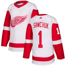 Detroit Red Wings Men's Terry Sawchuk Adidas Authentic White Jersey