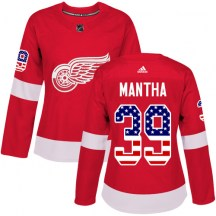Detroit Red Wings Women's Anthony Mantha Adidas Authentic Red USA Flag Fashion Jersey