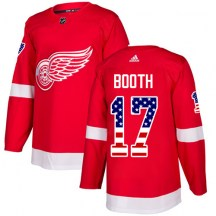 Detroit Red Wings Men's David Booth Adidas Authentic Red USA Flag Fashion Jersey