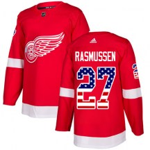 Detroit Red Wings Men's Michael Rasmussen Adidas Authentic Red USA Flag Fashion Jersey