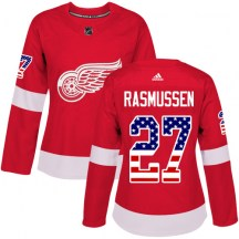 Detroit Red Wings Women's Michael Rasmussen Adidas Authentic Red USA Flag Fashion Jersey