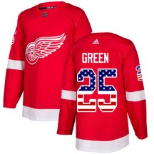 Detroit Red Wings Men's Mike Green Adidas Authentic Green Red USA Flag Fashion Jersey
