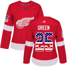 Detroit Red Wings Women's Mike Green Adidas Authentic Green Red USA Flag Fashion Jersey