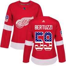Detroit Red Wings Women's Tyler Bertuzzi Adidas Authentic Red USA Flag Fashion Jersey